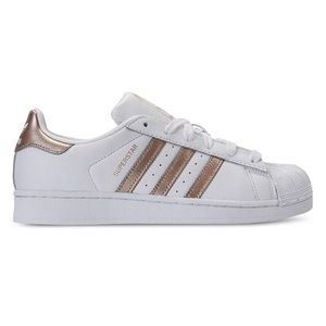 New Adidas Superstar Shoes Gold Stripes